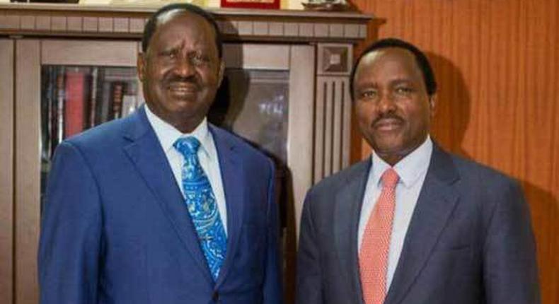 CORD leader Raila Odinga (left) and Wiper Party leader Kalonzo Musyoka (right)
