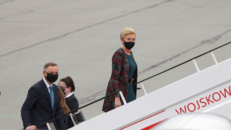 Prezydent RP Andrzej Duda wraz z małżonką Agatą Kornhauser-Dudą