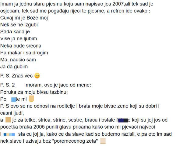 Bojan Tomović - poruka za tazbinu