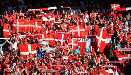 Denmark's passionate support will be roaring their team on as they search for a spot in the last 16 Creator: WOLFGANG RATTAY