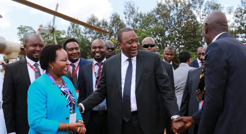 President Uhuru Kenyatta with governor Anne Waiguru