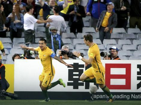 Tim Kejhil slavi gol u revanš meču sa Sirijom