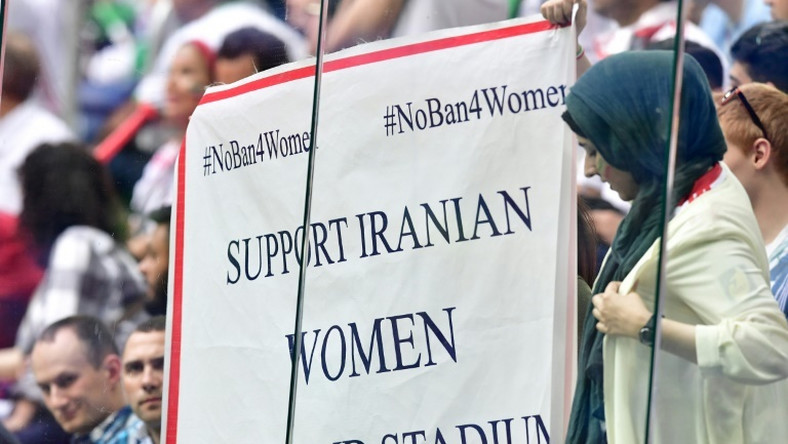 Iranian fans protested the ban on female supporters at football games in the country during last year's World Cup in Russia