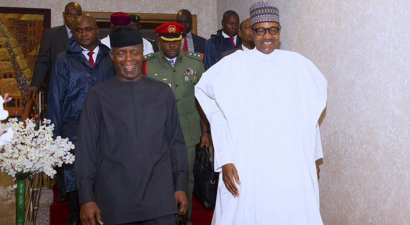 "Osinbajo tells Nigerians to queue behind ""best boss"" Buhari"