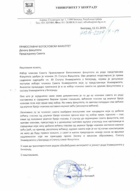 Dopis Rektorata BU