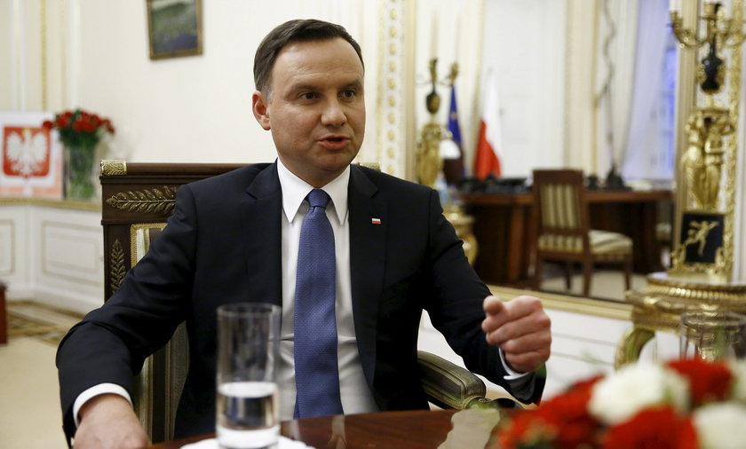 Poland's President Duda gestures as he speaks during interview with Reuters at the Presidential Palace in Warsaw
