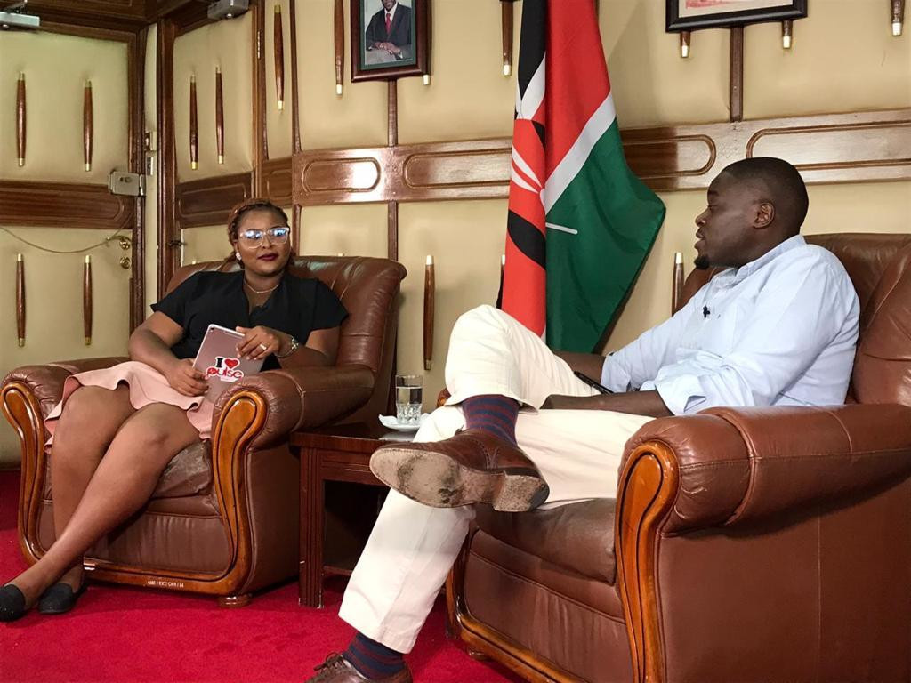 Nairobi Senator Johnson Sakaja with Pulse Presenter Cherrie during the Celeb 254 interview