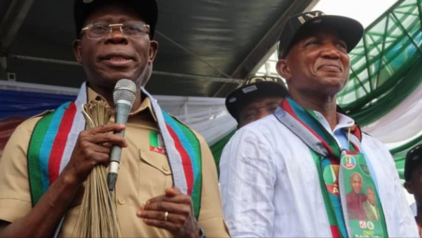 (Left) The National Chairman of the ruling All Progressives Congress (APC), Adams Oshiomhole asks INEC to conduct a fresh governorship election in Bayelsa state after the Supreme Court nullified the election of his party's candidate, David Lyon (Right) on February 14, 2020.  (TheCable)