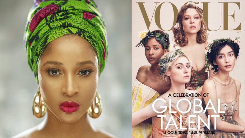 Adesua Etomi  has been recognised along with some of the world's most famous actresses on the front cover of Vogue Magazine April issue