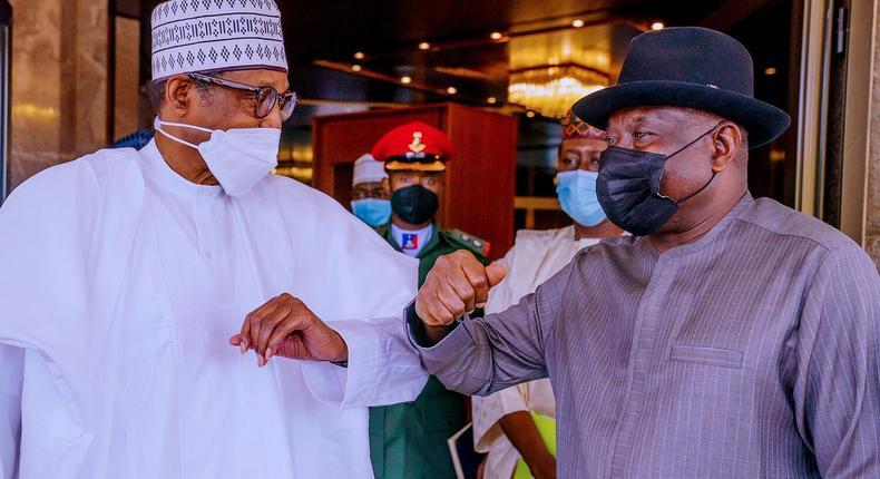 President Muhammadu Buhari and former President Goodluck Jonathan at Aso Rock. []Presidency