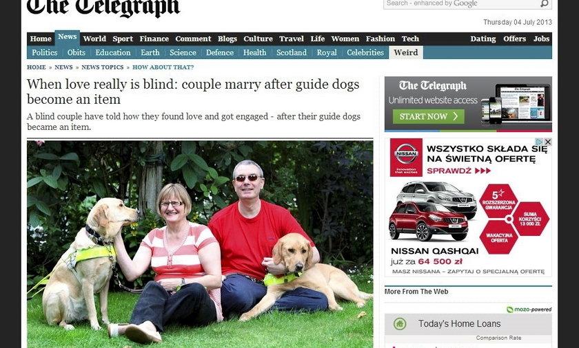 Niewidomi się pobrali, bo... pokochały się ich psy.