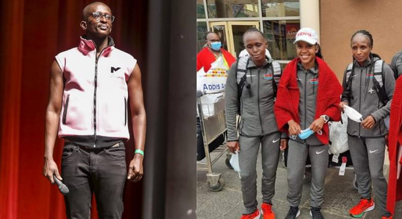 Njugush and  Faith Kipyegon and Hellen Obiri. Ngugush takes a Jibe at gov't for ignoring Team Kenya upon return form Tokyo