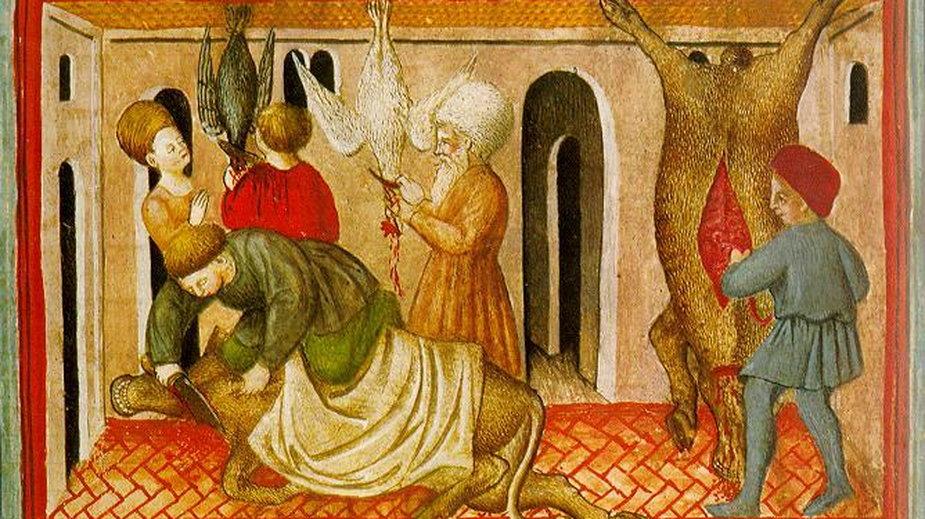 Ubój rytualny - rycina z XV w. nieznanego autorstwa