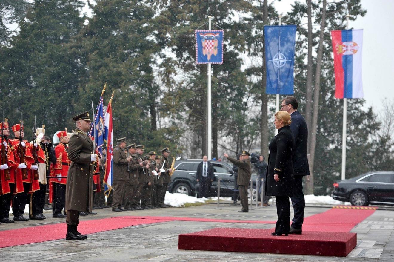 Svečani doček u Zagrebu: Kolinda Grabar Kitanović i Aleksandar Vučić
