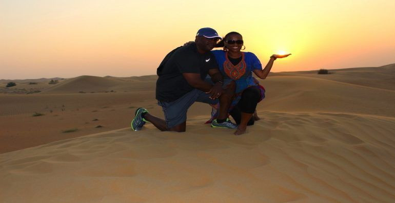 African tourists pose for a photo in Dubai. (The Sophisticated Life)