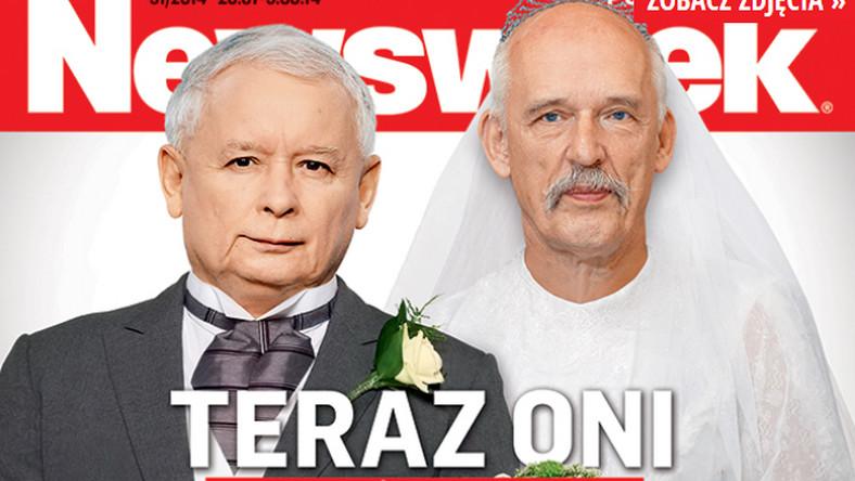 """Jarosław Kaczyński i Janusz Korwin-Mikke na okładce """"Newsweeka"""""""