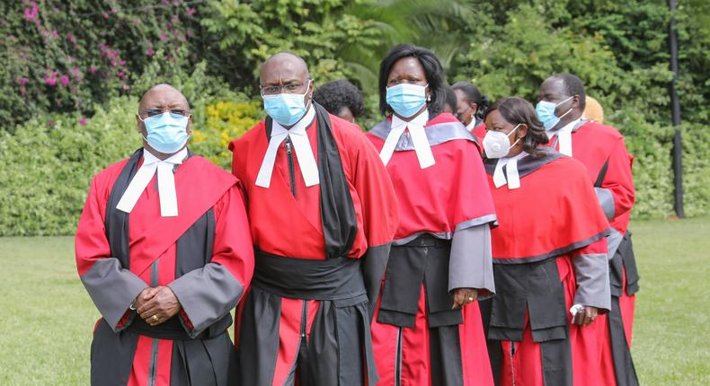Recently Gazetted judges of the Court of Appeal and various Divisions of the High Court arrive at State House, Nairobi for their Swearing-in Ceremony presided over by His Excellency President Uhuru Kenyatta