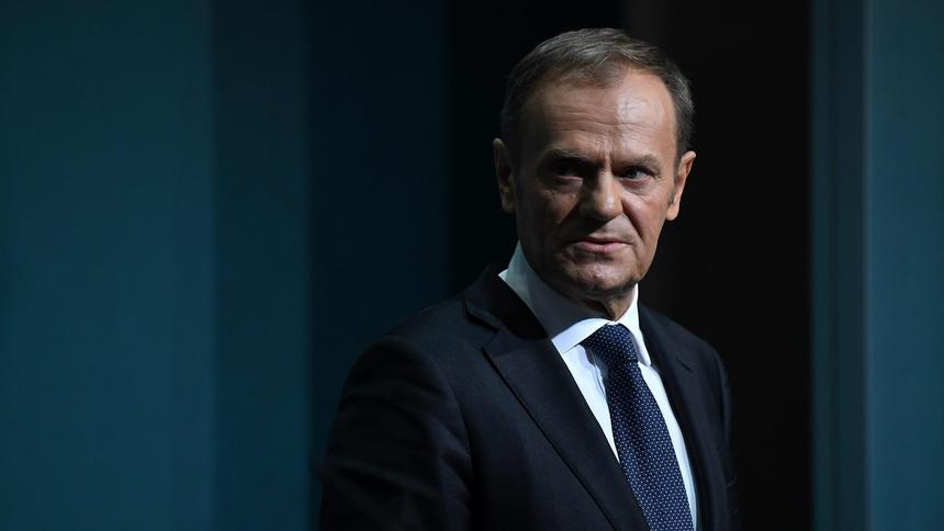 President of the European Council Donald Tusk speaks during a press conference at Government buildings in Dublin