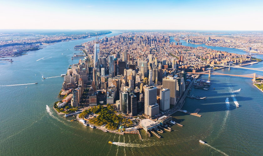 Aerial view of lower Manhattan NYC