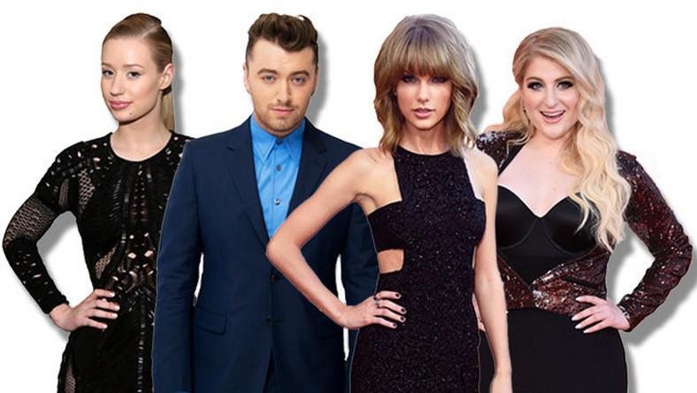 """Taylor Swift w liczbie nominacji wyprzedziła takie gwiazdy, jak Sam Smith (13 nominacji), Iggy Azalea (12 szans) oraz Meghan Trainor (9). Kto z gali Billboard Music Awards 2015 w Los Angeles wyjdzie ze statuetką, a kto obejdzie sięsmakiem? Przekonamy sięjuż 17 maja. Imprezępoprowadzi Ludacris z Chrissy Teigen i Jussie Smollett. Oto nominacje do nagród magazynu """"Billboard"""" w poszczególnych kategoriach:"""
