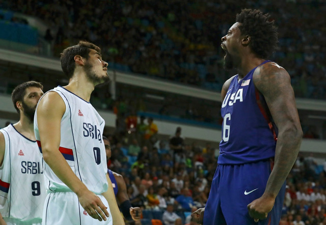 Deandre Džordan uživa tokom finala sa Srbijom u Riju