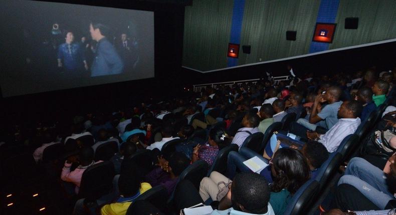 Movie lovers at Ozone Cinemas, E-Centre, Yaba