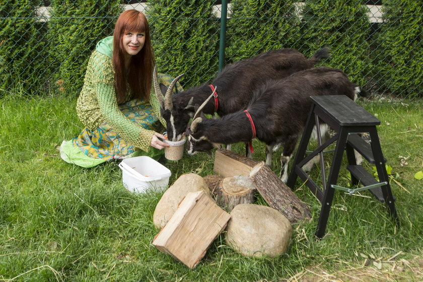 Violetta Nowacka ze swoimi kozami