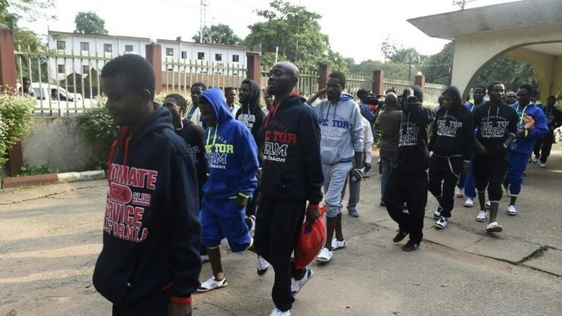 Migrants brought home from Libya arrive in Benin, capital of Edo State in midwest Nigeria, after being stranded in the volatile North African country en route to Europe.