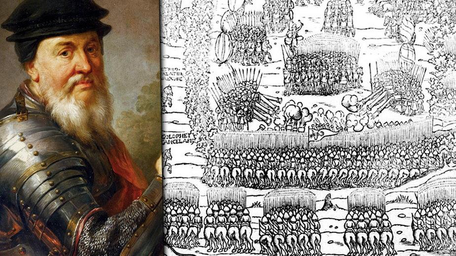 Jan Amor Tarnowski i bitwa pod Obertynem na fragmencie ryciny z kroniki Marcina Bielskiego