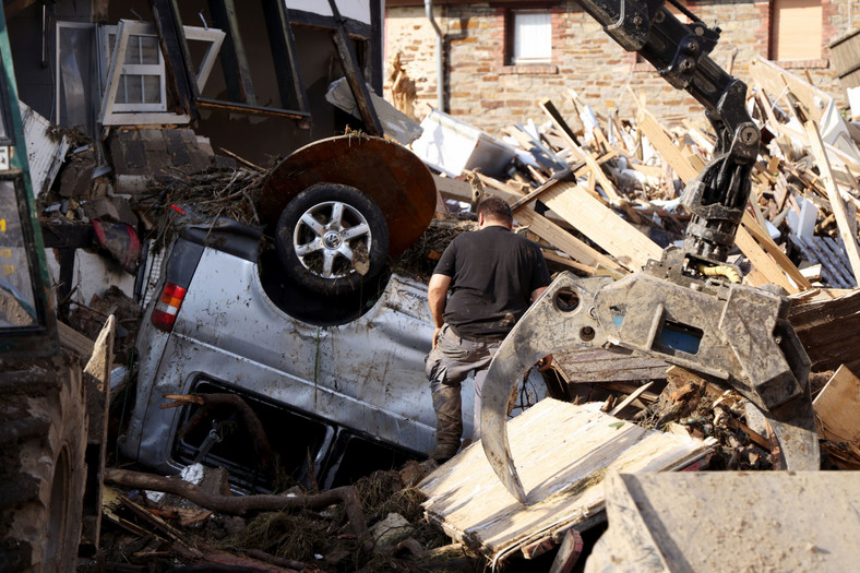 Zniszczone przez powódź miasto Schuld, Niemcy, 17.07.2021 Powódź w Niemczech katastrofa