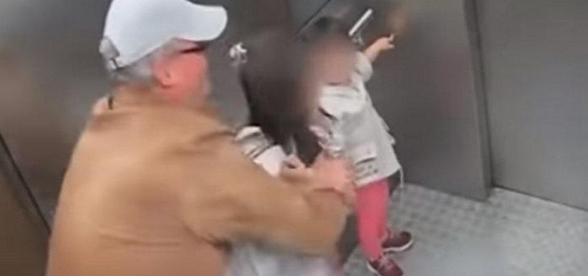 """Wstrząsające nagranie z windy. 54-latek uwięził dziewczynkę i chciał ją całować """"jak mama albo siostry"""""""