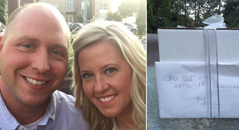 This couple wait 9 years to open wedding gift