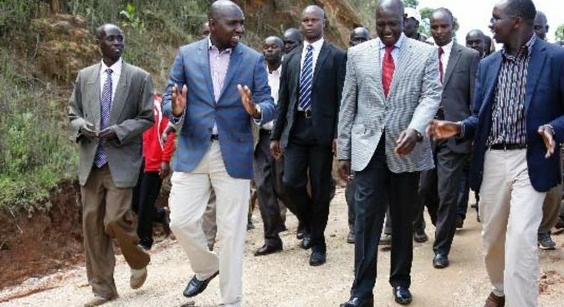 File image of Marakwet East MP Kangogo Bowen (R) with DP Ruto and Elgeyo Marakwet senator Kipchumba Murkomen