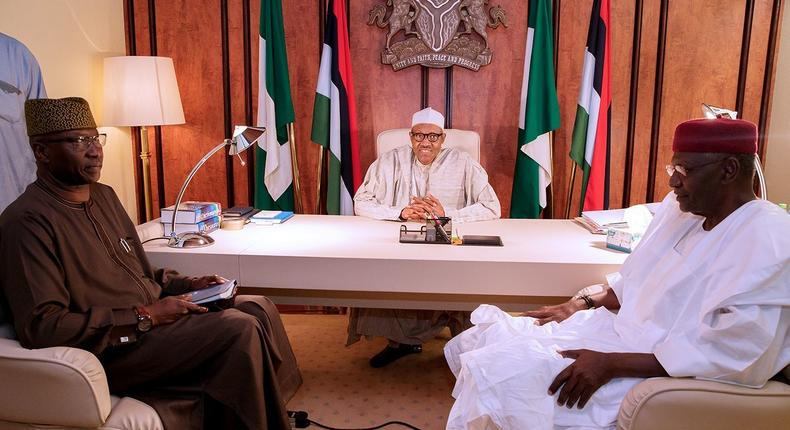 President Muhammadu Buhari (centre) and the Secretary to the Government of the Federation (SGF), Boss Mustapha (left), have both tested negative for coronavirus days after the president's Chief of Staff, Abba Kyari (right), tested positive [Presidency]