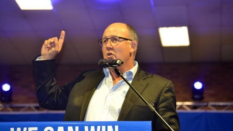 Democratic Alliance Mayoral candidate for the Nelson Mandela Bay munincipality, Athol Trollip gestures during his parties election campaign in Port Elizabeth, South Africa, July 24, 2016.