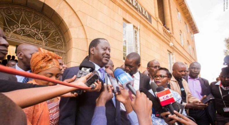 NASA leader Raila Odinga speaks to the press outside the Court of Appeal moments after the court instructed the release of the doctors' union officials.
