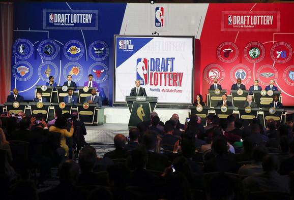 Detalj sa svečane ceremonije NBA draft lutrije u Čikagu