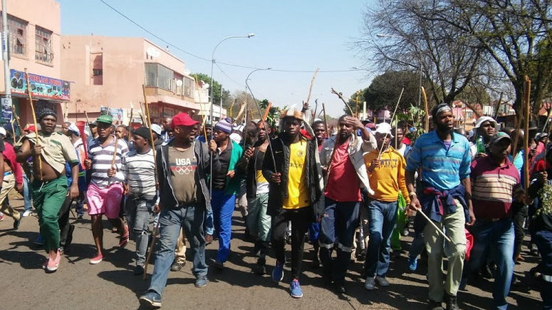Protesting hostel dwellers took to the streets asking foreign nationals to leave. (Sowetan Live)