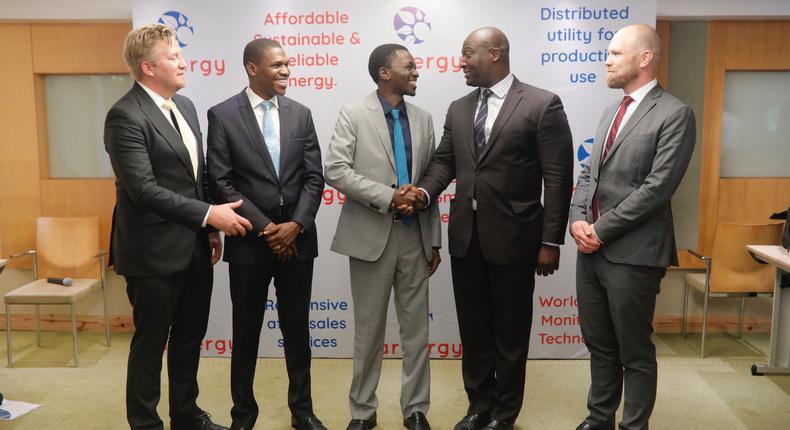 (L-R) Dr. Wiebe Boer (All On); Bunmi Adekore (Breakthrough Energy Ventures); Femi Adeyemo (Arnergy Founder); Anders Blom (Norfund); Kunle Odebunmi (Arnergy Co-Founder) at Radisson Blu Anchorage Victoria Island, Lagos.