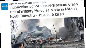 Indonezja: Katastrofa samolotu wojskowego. 30 ofiar śmiertelnych