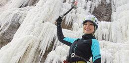 Dorota Gardias wspina się po stromym lodospadzie. Pogodynka daje radę!