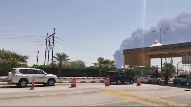 Smoke billows from Saudi oil giant Aramco's huge Abqaiq processing plant following a Saturday attack that Tehran insists was carried out by Yemeni rebels but Washington says originated in Iran
