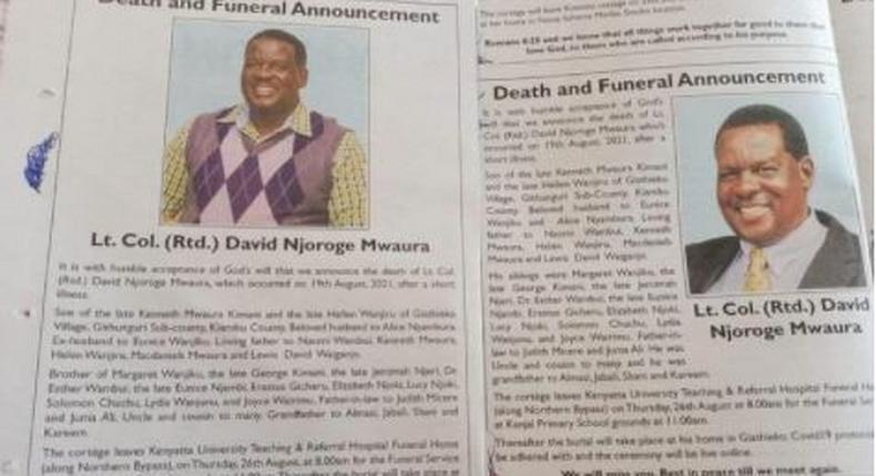 Families publish two different obituaries for dead Ex-KDF boss
