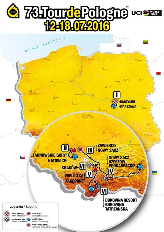 73. Tour de Pologne - mapa wyścigu