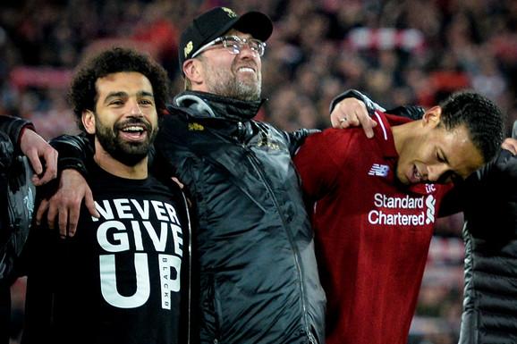 Jirgen Klop slavi prolazak u finale Lige šampiona sa povređenim Mohamedom Salahom i Virdžilom van Dajkom