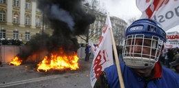 Manifestacja związkowców. Policja użyła śmigłowca
