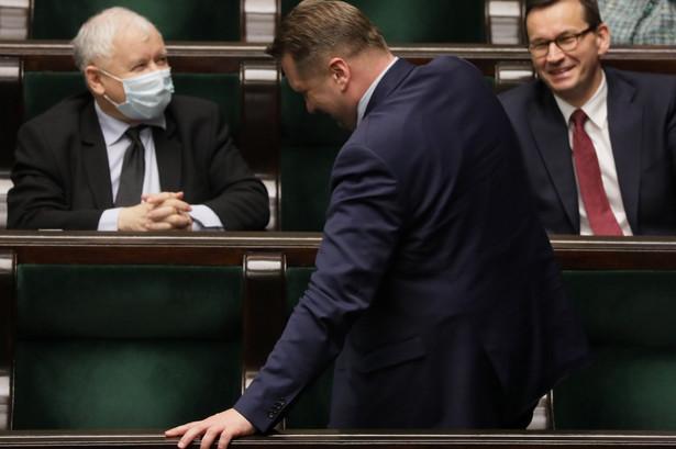 Prezes Jaroslaw Kaczynski i premier rzadu PiS Mateusz Morawiecki