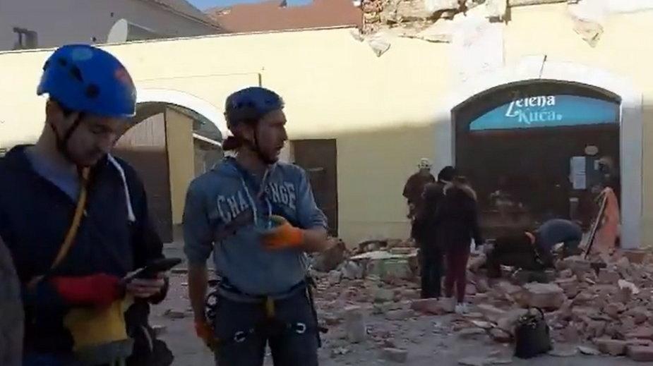 Skutki trzęsienia ziemi w miejscowości Petrinja