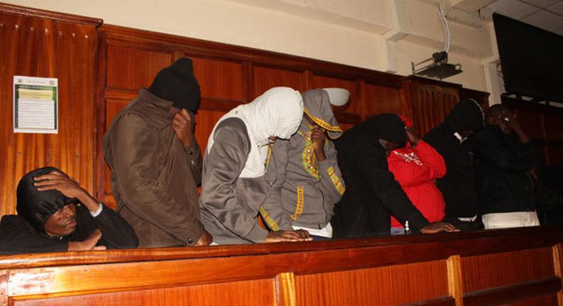 File image of some of the 15 suspects who were arrested in Kileleshwa with fake Gold at a Milimani court on Tuesday,May 14
