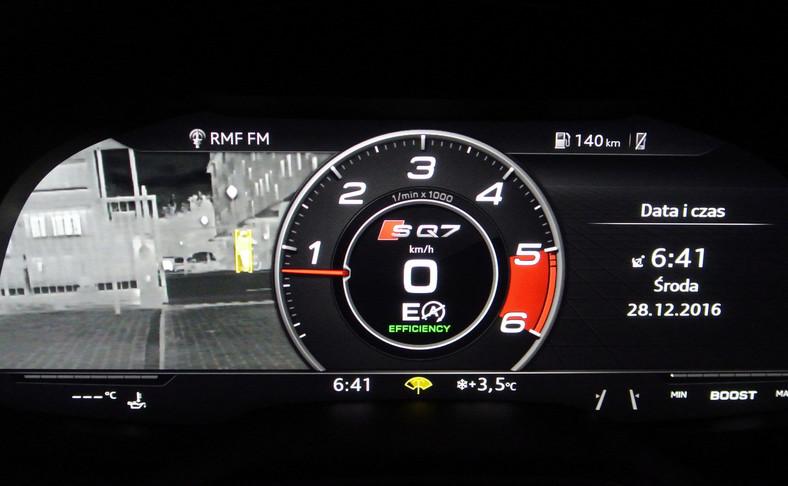 Audi SQ7 TDI - samochodowy noktowizor wykrywa i oznacza na żółto ludzi oraz zwierzęta